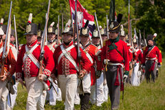 Soldiers marching to battle Stock Images