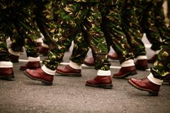 Soldiers marchingduring Romania`s National Day military parade. Soldiers marching during Romania`s National Day military parade Stock Photography