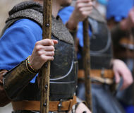 Soldiers with medieval uniforms Royalty Free Stock Photos