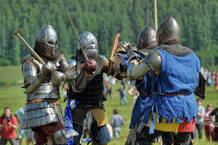 Soldiers of the Middle Ages Stock Images