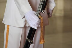 Soldiers with military bayonet gold tassel royalty free stock photography