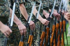 Soldiers with military camouflage Stock Photography