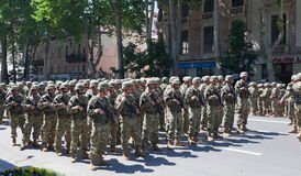 Soldiers on military parade. Tbilisi. Georgia. Royalty Free Stock Image