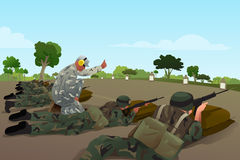 Soldiers in Military Training. A vector illustration of soldiers in military training Royalty Free Stock Images