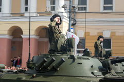 Soldiers in military vehicles on rehearsal of Military Parade Stock Photo