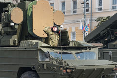 Soldiers in military vehicles on rehearsal of Military Parade Royalty Free Stock Photography