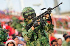 Soldiers moving amongst the spectators during National Day Parade (NDP) Rehearsal 2013 Stock Photo