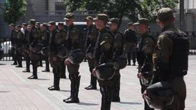 Soldiers of the National Guard of Ukraine on the streets of Kyiv. Soldier of the National Guard of Ukraine on the streets of Kyiv. Stock video footage HD / 1920 stock video footage