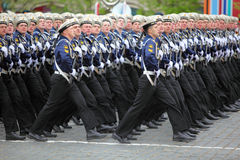 Soldiers of navy march on rehearsal of parade Stock Photos