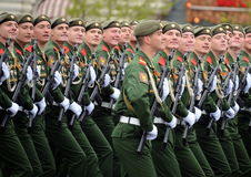 Soldiers of the 2nd Guards motorized rifle Tamanskaya division during the parade in red square in honor of Victory Day. Stock Image