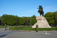 Soldiers near the monument to Peter the Great. Royalty Free Stock Photos