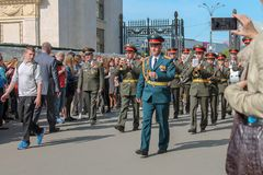 soldiers and orchestra marching in the Park, editorial stock images