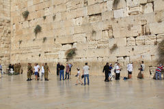 Soldiers and Other Jewish Men at the Wailing Wall Stock Photos