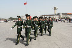 Soldiers pacing in Tiananmen square Royalty Free Stock Photography