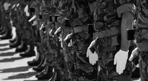 Soldiers in Parade in black&white Royalty Free Stock Photos