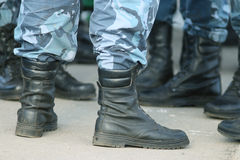 Soldiers parade boots feet Stock Photography