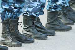 Soldiers parade boots feet Royalty Free Stock Photo