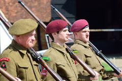 Soldiers on parade in reenactment Royalty Free Stock Photo