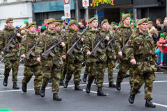 Soldiers in a parade for St. Patrick's Day Royalty Free Stock Images