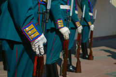 Soldiers in parade uniform with rifles Royalty Free Stock Images