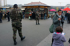Soldiers on patrol Stock Images