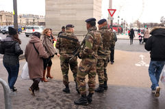 Soldiers patrol Paris' streets Stock Images