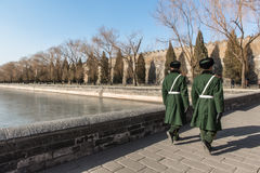 Soldiers patrol the perimeters of Forbidden City in Beijing Stock Photo