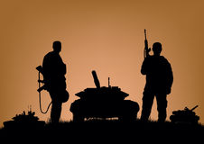 Soldiers on the performance of combat operations.  Royalty Free Stock Photography