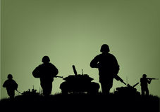 Soldiers on the performance of combat operations.  Royalty Free Stock Photos