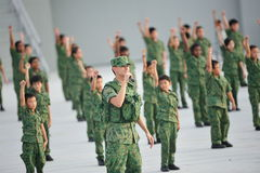 Soldiers performing during National Day Parade (NDP) Rehearsal 2013 Royalty Free Stock Photos