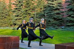 Soldiers of the President's regiment returned to the barracks Stock Images