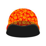 Soldiers protective helmet Russian hohloma style.  Royalty Free Stock Photo