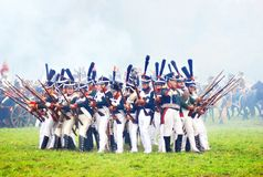 Soldiers ready to attack at historical reenactment Stock Images