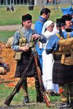 Soldiers-reenactors from Scotland army forces. Royalty Free Stock Photos