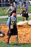 Soldiers-reenactors from Scottish regiment Royalty Free Stock Photos