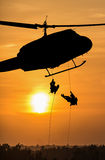Soldiers rescue helicopter operations Royalty Free Stock Photos