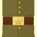 Soldiers retro clothing. Strap and buckle with star. Vintage mil Stock Photography