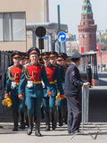 Soldiers returning from a rehearsal of the Victory Parade Stock Photography