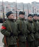 Soldiers with rifles of the Great Patriotic War are preparing for the parade on November 7 on Red Square. Stock Photo