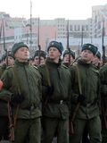 Soldiers with rifles of the Great Patriotic War are preparing for the parade on November 7 on Red Square. Stock Images