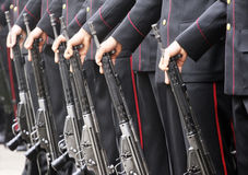 Soldiers in a row.  stock images