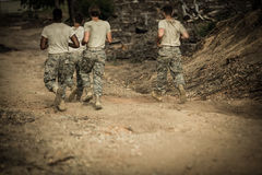 Soldiers running in boot camp Royalty Free Stock Photography