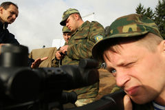 Soldiers in  russia's military exercises. Stock Photo