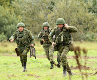 Soldiers in  russia's military exercises. Stock Photos