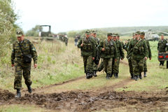 Soldiers in russia's military exercises. Royalty Free Stock Photo