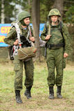 Soldiers in russia's military exercises. Royalty Free Stock Image