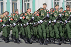 Soldiers of the Russian army on parade rehearsal in honor of Victory Day. Saint Petersburg Stock Images