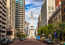 Soldiers' and Sailors' Monument in Indianapolis. Indianapolis, Indiana, USA- August , 2016. View of The Indiana Sailors' and Soldiers' Monument at Downtown Royalty Free Stock Photography