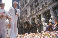 Soldiers and Sailors, Ticker Tape Parade, New York City, New York Stock Photography