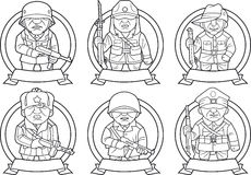 Soldiers of the Second World War. Cartoon Soldiers of the Second World War Stock Photography
